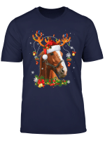 Horse Christmas Reindeer Lights Funny Horse Xmas Gift T Shirt