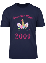 Youth 10Th Birthday Girl Unicorn Shirt Awesome Since 2009 Gift T Shirt