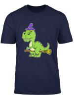 Halloween Graphic Art Witch Dinosaur Riding Broomstick T Shirt