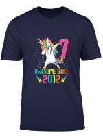 Youth Kids 7 Years Old 7Th Birthday Unicorn Dabbing Cool Girl T Shirt