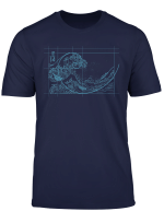 Hokusai Meets Fibonacci Linear Blue T Shirt