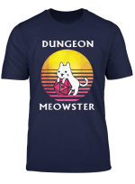 Vintage Dungeon Meowster Funny Nerdy Gamer Cat Gift T Shirt