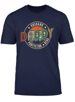 Husband Daddy Protector Hero T Shirt Dad Vintage Papa Gift