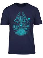 Star Wars Millennium Falcon Blue Outlined Poster T Shirt