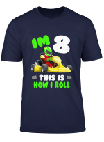 Youth Kids Im 8 This Kid Loves Go Karts 8Th Year Birthday Theme T Shirt