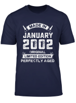 Vintage Made In January 2002 Birthday Gifts For 18 Years Old T Shirt
