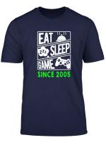 Eat Sleep Game Seit 2005 T Shirt Geschenk Zum 14 Geburtstag