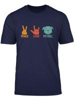Peace Love Pitbull Vintage Dog Gift For Pitbull Lovers T Shirt