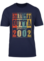 Retro Straight Outta January 2002 18Th Birthday Gift Ideas T Shirt