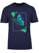 Blauer Susser Schmetterling Falter Mit Blumen Im Rahmen T Shirt