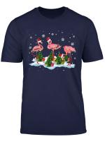 Santa Flamingo Christmas Lights Funny Flamingo Lover Gifts T Shirt