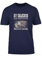 Womens Proud Navy Grandma My Grandson Has Your Back T Shirt