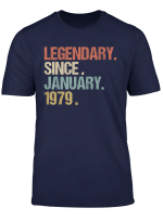 40Th Birthday Gift Legendary Since January 1979 Shirt Retro