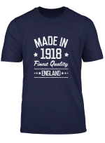 Made In 1918 England Gift For 101 Year Old Man Woman Long Sleeve T Shirt