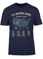 National Parks Map Us Camping Hiking Outdoor Men Women T Shirt
