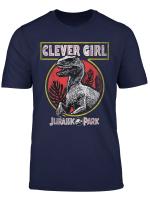 Jurassic Park Clever Girl Raptor Roar Circle Logo T Shirt
