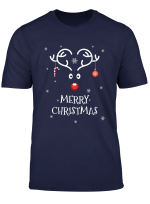 Merry Christmas Funny Reindeer Candy Cane On Heart Antlers T Shirt