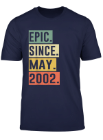 Retro 17Th Birthday Gifts Tee Epic Since May 2002 T Shirt