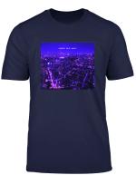 Vaporwave Cyberpunk Japan Tokyo City Skyline Glitch Purple T Shirt