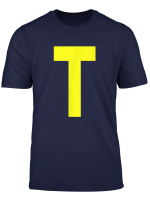 Initials Letter T Theodore Chipmunk Christmas Back T Shirt
