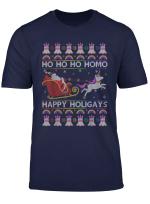 Ho Ho Homo Happy Holigays Santa Riding Unicorn Xmas Tshirt