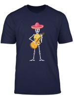 Mexikanisches Mariachi Skelett Mit Hut Gitarre T Shirt