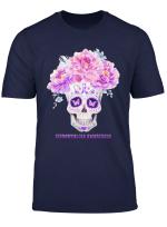 Fibromyalgia Awareness Skull Flower Gift T Shirt