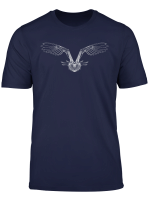 Flying Owl Bird Dot Line Art Portrait Sketch Drawing Owl T Shirt