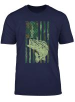 Bass Fishing Camouflage American Flag Gift Patriot Fishermen T Shirt
