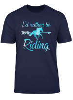 Horse Rider Shirt Girls I D Rather Be Riding Horses Kid Gift