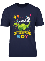 Youth 2 Year Old Shirt 2Nd Birthday Boy T Rex Dinosaur T Shirt