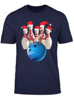 Christmas Bowling Player Xmas Reindeer Ball Santa S Hat Pins T Shirt