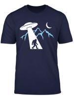 Bigfoot Funny Sasquatch Ufo Abduction Moon Mountain T Shirt