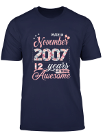 Birthday Gifts Floral Tee For Girls Born In November 2007 T Shirt