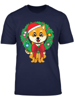 Akita Christmas Wreath Ornament Dog Mom Dad Gift T Shirt