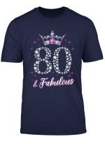 Womens 80 And Fabulous 1939 80Th Birthday Gift T Shirt