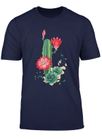 Cute Vintage Cactus Pattern Red Flower Plant Summer Gift T Shirt