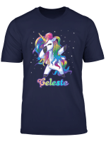 Celeste Name Personalized Custom Rainbow Unicorn Dabbing T Shirt