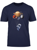 T Shirt Cat As Astronaut In Space Holding Planet Balloon