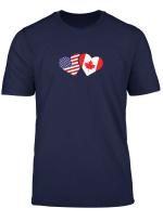 Canada Usa Flag T Shirt Heart Canadian Americans Love Cute