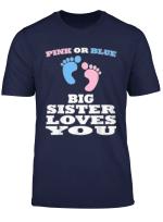 Pink Or Blue Big Sister Loves You Gender Reveal Baby Shower