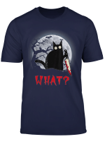 Cat What Funny Black Cat With Knife Murderous Halloween T Shirt