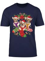 Three Chihuahua In Sock Christmas Santa Hat Dog T Shirt