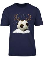 Christmas Soccer Ball Reindeer Funny Sport Xmas Boys Men T Shirt