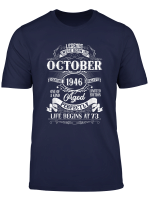 Legends Were Born In October 1946 74Th Birthday Gift T Shirt