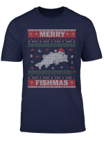 Merry Fishmas Ugly Sweater Outfit Angeln Weihnachten Angler T Shirt