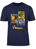 Night Cafe Sunflowers And Starry Night By Vincent Van Gogh T Shirt