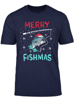 Merry Christmas Fishmas Funny Fishing Fish Reel Gift Present T Shirt