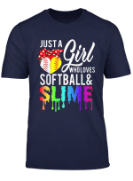 Just A Girl Who Loves Softball And Slime T Shirt Day Gifts