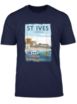 Retro England St Ives Cornwall Vintage Poster T Shirt Gift